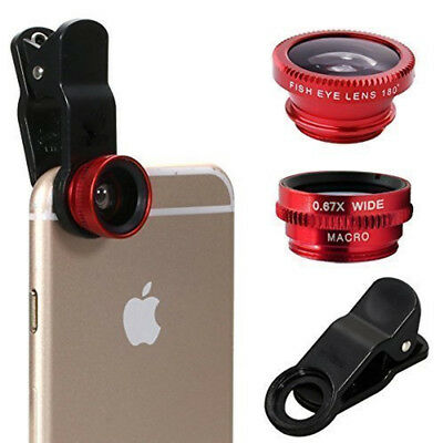 3 in1 Fish Eye Wide Angle Macro Camera Clip-on Lens For iPhone 5/5S/6/6S Samsung