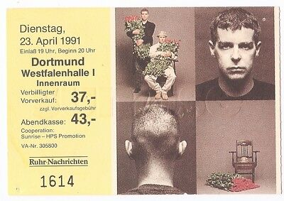 Pet Shop Boys    In Concert 1991   Ticket / Konzertkarte / Eintrittskarte