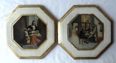 Pair Of Italian Gold Gilt Florentine Tole Prints Wall Plaques