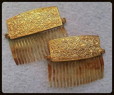 Beautiful Antique or Vintage Gold Plated or Brass Tortoise Celluloid Hair Combs