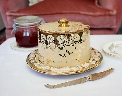 A Stunning c19th Ceramic Stilton or Butter Dish in Cream and Gold