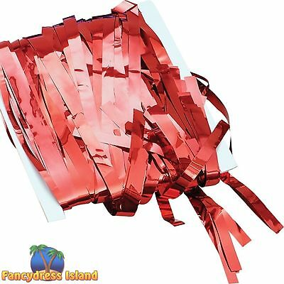 RED TINSEL PARTY CURTAIN DECORATION One Size FAST POST Partyware Decorations