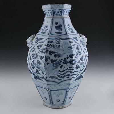Chinese Blue And White Wares Yuan Style Vase Porcelain Phoenix Ceramics Pottery