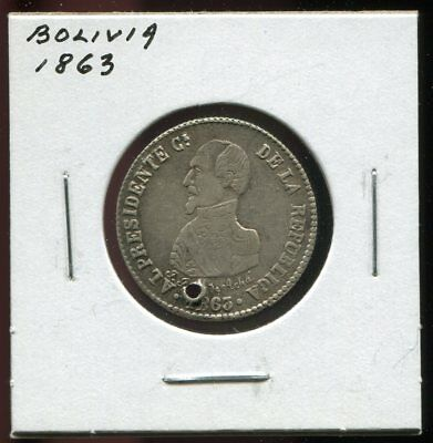 ** BOLIVIA 1863 , PROCLAMATION COCHABAMBA SILVER  With HOLE **