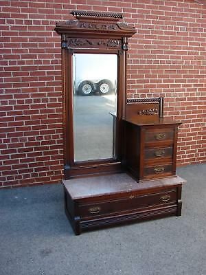 Antique Walnut Victorian Marble Top Chevel Dresser  See Desc For 23 Pictures