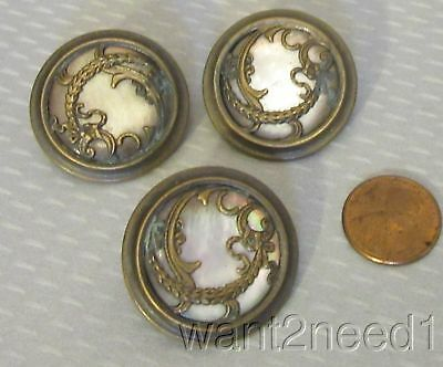 antique French BUTTON SET 3 mother of pearl MOP BRASS OVERLAY large 30mm