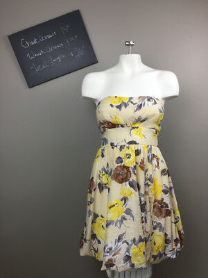 aad490c0b5 WOMENS CHARLOTTE RUSSE strapless dress sundress floral yellow 4 ...