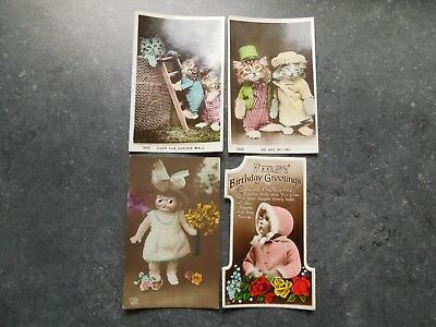 GB 4 Old (Cats /Dolls) Postcards Greetings Cards. (2 from The Regent Series)