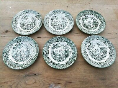 Set of six Staffordshire Ironstone Tableware Green And White side plates 9.5cm