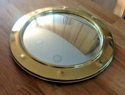 Vintage Brass Mirror Porthole Convex Fish Eye Wood Back & Chain 26cm