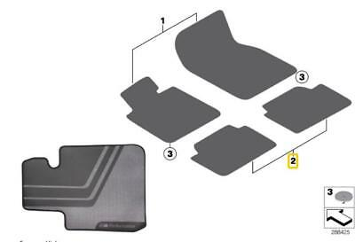 BMW Genuine M Performance Car Floor Mats Rear F33 F83 M4 4 Series 51472409934