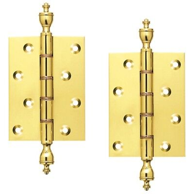Pair of BRASS FINIAL HINGES fancy solid brass Double Phosphore Bronze Washered
