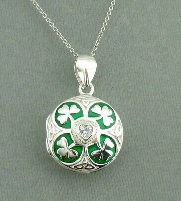 925 Sterling Silver Shamrock Clover Locket Necklace Enamel Cubic Zirconia Green