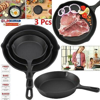 3pcs Cast Iron Non-Stick Frying Pan Griddle BBQ Barbecue Skillet Grill Fry Pan