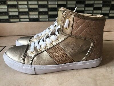Guess Women's Ladies Trainers Ankle Shoes Gold Size US 7 UK 4.5