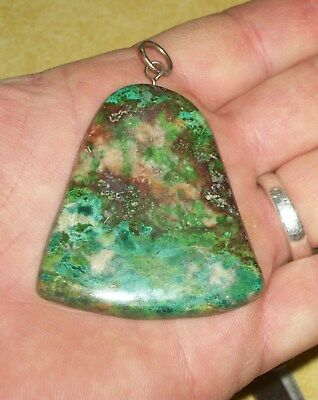 Bob Hicks Old Stock Parrot Wing Chrysocolla Pendant Lapidary Stone Work Rock Wow