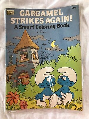 Vintage Gargamel Strikes Again A Smurf Coloring Book by Peyo 1983 Happy House