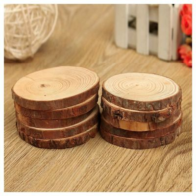 10PCS Natural Tree Round Wood Log Slice For Wedding Centerpiece Bark Table De F2