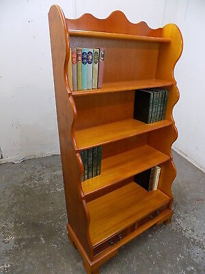 reproduction,large,beech,yew,tall,waterfall,freestanding,bookcase,drawers,books