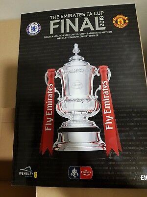 Chelsea vs Man Utd FA Cup Final 2018 match day Team sheet + Programme New Cond