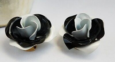vintage gold tone to Black and White Rose clip-on earrings