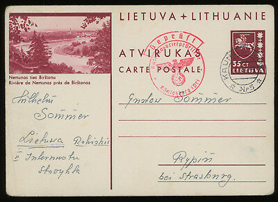 Lithuania 1939 35c brown-carmine illustrated postcard sent to Rypin (Poland)
