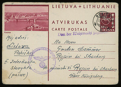 Lithuania 1939 35c brown-carmine illust. postcard from Rokiskis to Rypin, Poland