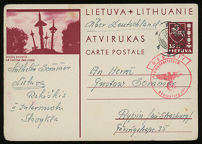 Lithuania 1939 35c brown-carmine illustrated postcard sent to Rypin, Poland