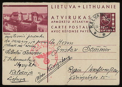 Lithuania 1940 35c brown-carmine illustrated postcard sent to Rypin, Poland