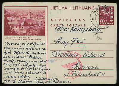 Lithuania 1940 35c brown-carmine illustrated postcard from Kalvarija to Warsaw