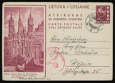 Lithuania 1940 35c brown-carmine illustrated postcard from Kalvarija to Rypin PL