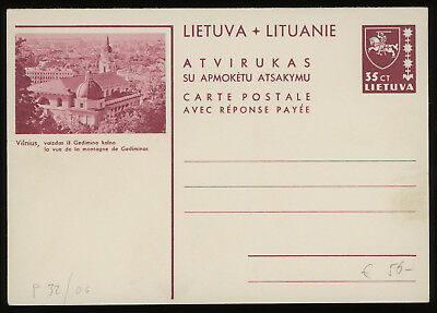 Lithuania 1939 35c brown-carmine illustrated reply postcard mint, H&G 28, rare