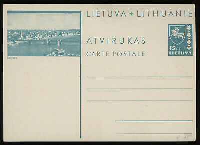 Lithuania 1938 15c blue-green illustrated postcard mint, H & G no. 24, rare