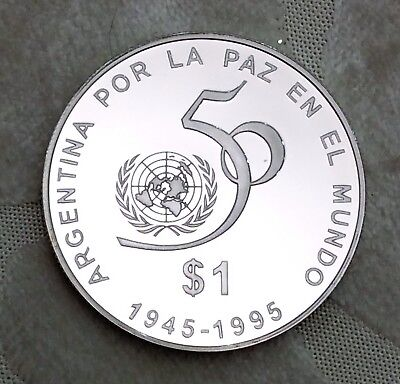 ARGENTINA PESO 1995 SILVER PROOF, 50th Anniversary - United Nations, RARE
