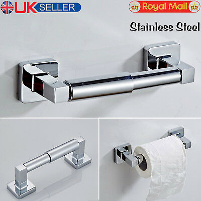 Square Bathroom Bar Toilet Roll Holder High Shine Polished Chrome Finish Modern