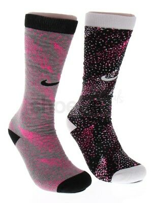Nike Youth Cushioned 2 Pack 5Y-7Y Over-the-Calf Pink Black Grey Socks SX5263
