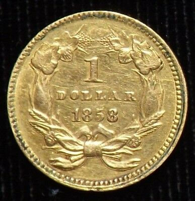 1858 $1 Dollar United States Gold Coin  Circulated
