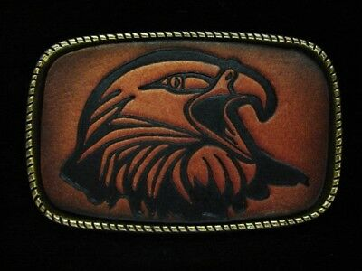 NG19102 *NOS* VINTAGE 1970s **BALD EAGLE'S HEAD** LEATHER ART SOLID BRASS BUCKLE