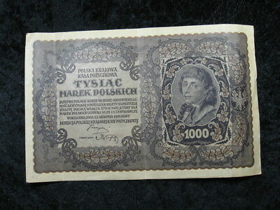 "1 XL old world foreign banknote POLAND 1000 marek P29 1919 ""Kosciuszko"""