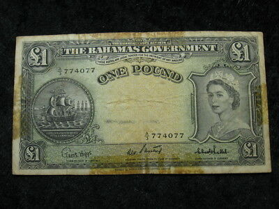 1 old world foreign banknote BAHAMAS pound P15 1953 Queen Elizabeth II FREE S&H