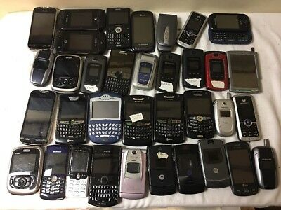 Lot Of 35 Old Cell Phones Various Brands Styles Carriers Salvage As Is For Parts