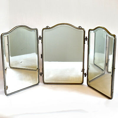 Antique Tri-Fold Travel Mirror with Beveled Edge - Industrial-Art Deco Shaving