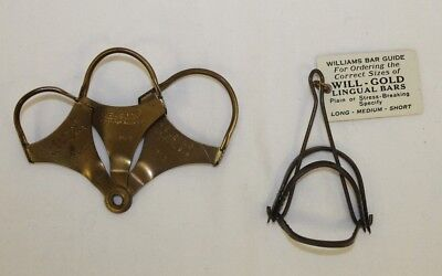 Antique Dentistry Medical Lingual Bars Jelenko 3 Sizes & Williams Will-Gold