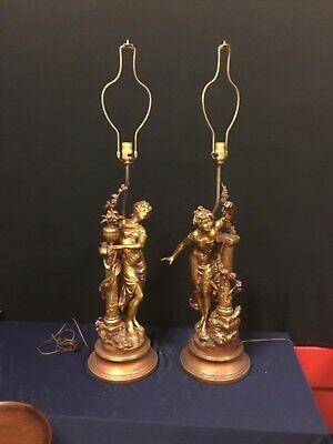 Gorgeous Pair of Large Hallmarked Collection Francaise Metal Lady Lamps. L1