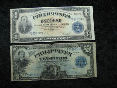 2 old world banknote lot PHILIPPINES 1 & 2 peso silver certificate Victory 1944