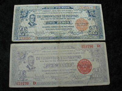 2 emergency note WW II Guerilla currency lot PHILIPPINES BACOLOD 2 pesos 1942