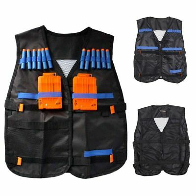 Top Tactical Vest For 12 Darts and 4 Ammo Clips In Nerf N Strike Games Black FR