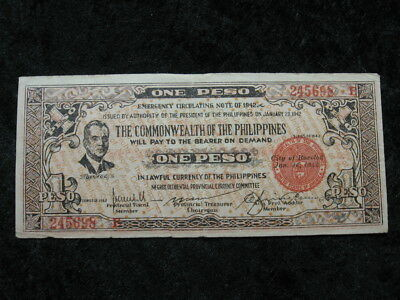 1 emergency note WW II Guerilla currency PHILIPPINES BACOLOD 1 peso 1942 Quezon