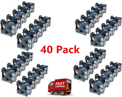 40PK Compatible Black on White DYMO D1 45013 S0720530 Labelmanager Label Tape