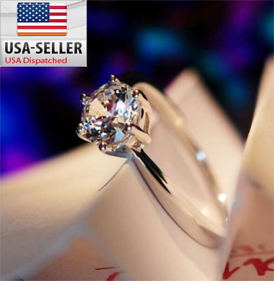 5 ct White Sapphire Claw Ring 10 KT White Gold Filled Wedding Rings Band USA